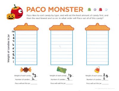 halloween math printable worksheet