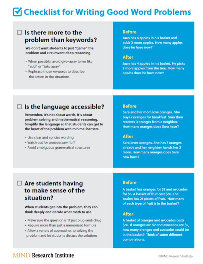 Checklist for writing better word problems