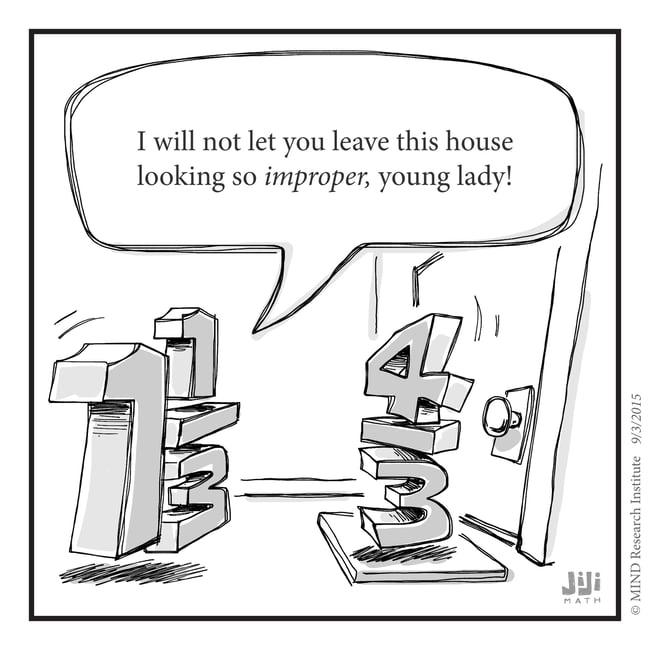 Funny math cartoon improper fractions