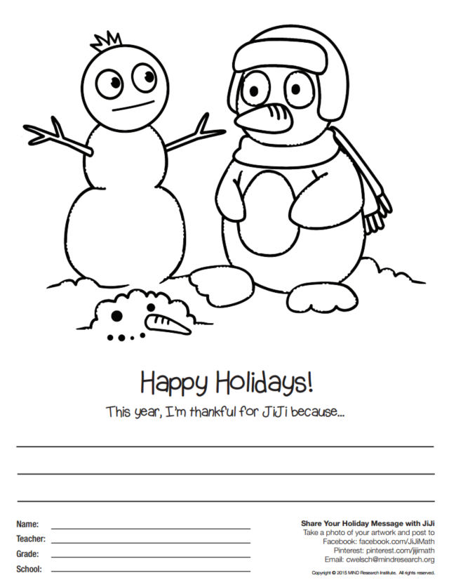 Holiday Coloring Page with JiJi from ST Math
