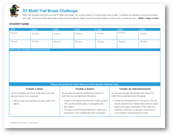 ST Math Fall 2020 Challenge Worksheet