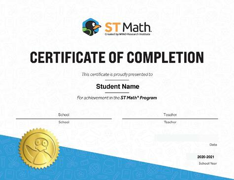 ST Math Certificate of Completion