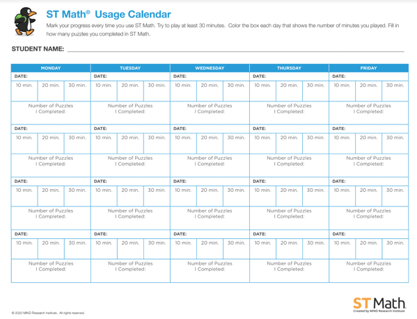 ST Math Usage Calendar