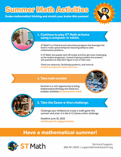 Screenshot Summer Math Activities 2020