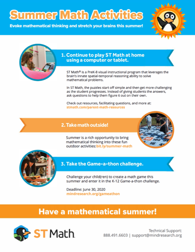 Summer Math Activities - English